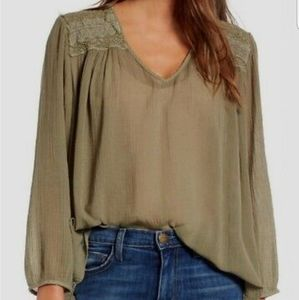 Current Elliott boho picnic shirt green